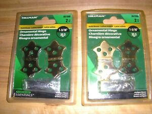 Solid Brass Anique Finish 1 5 16quot; Hinges Hillman 851590 2 Packs 4 hinges total