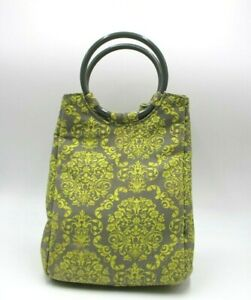 Fit & Fresh Lunch Tote Womens Insulated Bag Travel Fabric Chiller Gray Green Geo