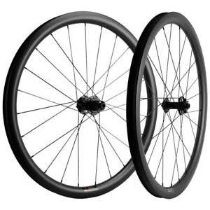 700C Carbon Fiber Gravel Bike Wheelset 38mm Tubeless Road Disc Brake Wheels $383.30