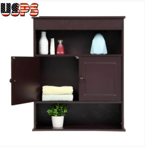 Brown Bathroom Over Toilet Storage Cabinet Organizer Wall Mounted Shelves US