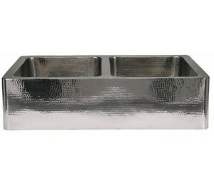 CopperSmith Hammered Stainless Steel - Kitchen Double Farmhouse Sink - 33