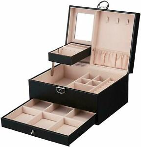 PU Leather Jewelry Storage Box Organizer Ring Earring Necklace Display Case US