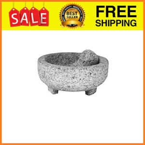 Vintage Granite Stone Mortar And Pestle Molcajete Mexican Salsa Bowl Large
