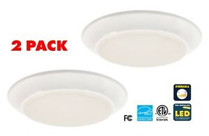 CORAMDEO 7.4 Inch LED Flush Mount Ceiling Light 800 LM 3K White 2 PACK