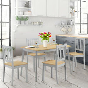 5 Pcs Mid Century Modern Dining Table Set With 4 Chairs Solid Wood Legs