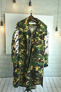 $1300 New Off-White Camouflage Military Green Camo Trench Jacket Coat Sz M