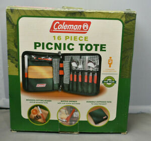 Coleman 16 Piece Picnic Tote Camping Cutting Board Utensils Bottle Opener