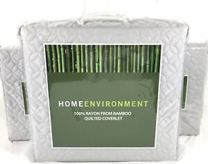 Lt Gray QUEEN 3pc BAMBOO Coverlet Set Home Environment Wedding Ring Quilt $530