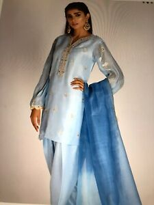 Indian Pakistani designer Light Blue 100% Silk salwar kameez & Dupatta Medium.