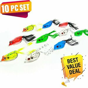 UFISH Topwater Bass Fishing Bait  Soft Frog Lures 10pc fishing lot crankbait