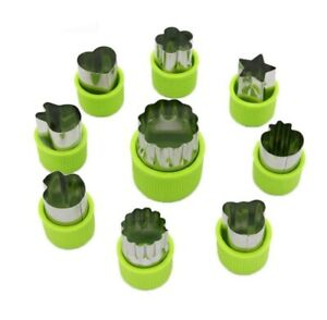 9 Pcs Stainless Steel Fruit Vegetable Cutter Shapes Set Mini Cookie Slicer Mold