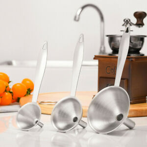 3PC Mini Stainless Steel Funnel Set Small Metal Portable Funnel Kitchen Creative
