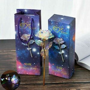 24K Day Gold Foil Rose Flower LED Luminous Galaxy Christmas Valentine's Gifts GF