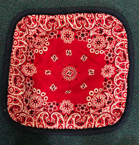 Red Bandana Denim Pillow Cover with Designer Welting 18x18 cover only