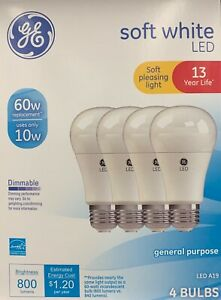 GE Basic 60-Watt A19 Soft White LED Light Bulb (4 BULBS) uses 10 watts