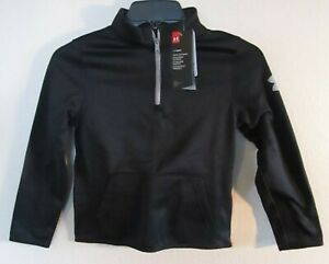 NWT Under Armour Boys Armour Fleece Elevate 1 4 Zip Top YXS Black Steel MSRP$40 $19.99
