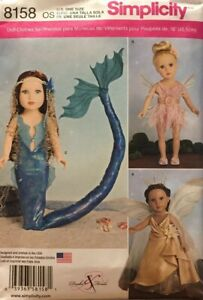 """Sewing Girls Doll American Pattern Mermaid Size 18"""" Fairy Simplicity 8158 New $10.00"""