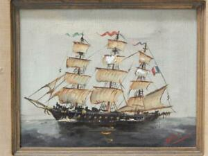 VINTAGE SAILING SHIP FRENCH FLAG SIGNED OIL PAINTING ANTIQUE NAUTICAL MARINE $238.88