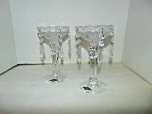 Shannon Old World Chandelier Candlestick Pair 5 Prisms 24% Lead Crystal T63