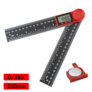 2 In 1 200mm LCD Digital Angle Finder 8quot; Protractor Ruler Goniometer $11.99