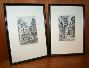 2 x Antique Lithographs Bernkastel Germany Signed Framed VGC 9quot; x 12quot; SS07 GBP 49.95