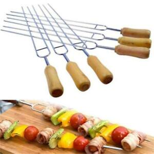 Food Grade Roasting Fork Twin Prong Skewers Wooden Handle BBQ Barbecue Needle KV