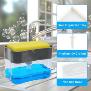 2 in 1 Soap Pump ABS Dispenser & Sponge Holder For Dish Soap And Kitchen Clear