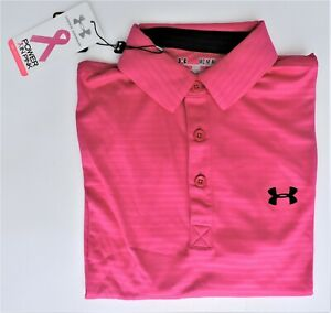 Under Armour Mens Power in Pink SS Striped Loose Fit Golf Polo Shirt $24.49