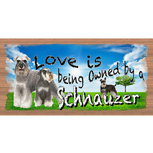 Wood Signs - Love is Being Owned by a Schnauzer GS 2094-GiggleSticks