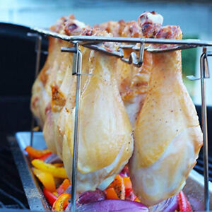 12 Slot Chicken Leg Wing Drumstick Oven Grill Rack Roasting Smoker With Tray KV