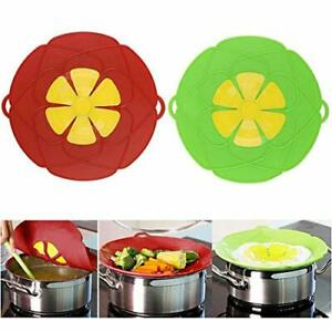 2 Spill Stopper Lid Cover Boil Over Safeguard Silicone Pot Pan Lid Kitchen Tool