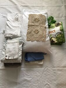 Lot Of 15 Items Flat Sheet Pillowcases Towels Rugs  Kitchen Towels Reusable Bag