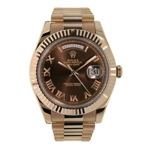 Rolex Day-Date II Rose Gold Chocolate Roman Dial 41MM Watch 218235