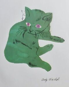 ANDY WARHOL GREEN SAM  SIGNED CAT LITHOGRAPH MATTED   $195.00