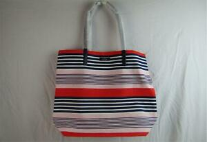 Kate Spade Pink Navy Stripe Bon Shopper Tote Cotton Leather #870297 NWT KS04