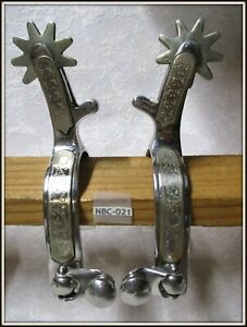 Beautiful Vintage SILVER MOUNTED Hand Engraved RENALDE STAINLESS Cowboy SPURS