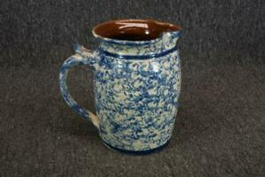 Stoneware 7.5quot; Tall Hand Made White amp; Blue Pitcher Olde Cafe Cod 1938