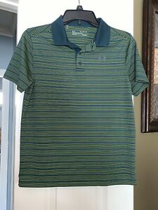 EUC Boys Under Armour Hunter Green And Yellow Stripe Polo Golf Shirt Youth XL $11.99