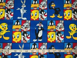 NEW Discontinue Looney Tunes Patchworks 100% Cotton Sold By FQ Fat Quarter