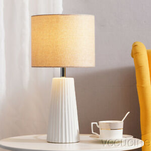 18 inch Ceramic Base Table Lamp with White Fabric Lampshade Nightstand Bedside