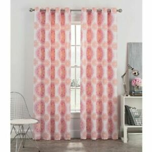 New Newport Blush Medallion 50'' x 72'' Grommet Window Curtain Panel White Coral