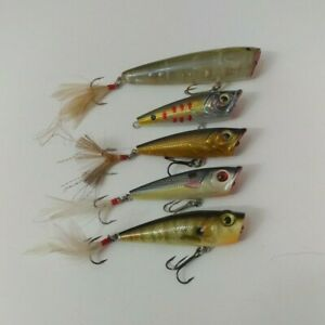 (5) Bass Pro Shops XPS Lazer H2O Popper Top Water Fishing Lures  Lot of 5
