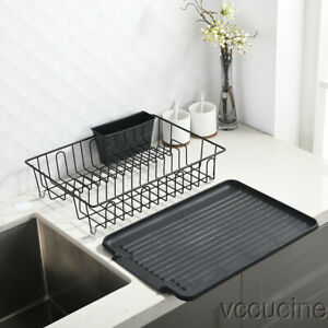 Kitchen Sturdy Wire Dish Drying Rack Drainboard Cutlery Cup Stainless Steel