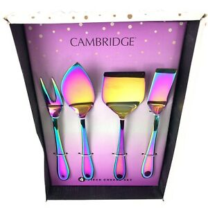 Cambridge 4 Piece Cheese Knife Set Titanium Color Plated Stainless Steel Rainbow