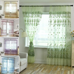 US 39quot; 1 2 Panel Floral Sheer Voile Window Curtains Drape Tulle Scarf Room Decor