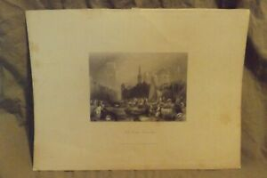 Antique 19th Century Lithograph FISH MARKET ROTTERDAM 4x5.75
