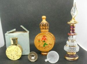 Vintage of 3 Perfume Miniature Vials Containers Metal Wood amp; Egyptian Glass $9.99