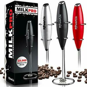 PowerLix Milk Frother Handheld Battery Operated Electric Foam Maker For Black