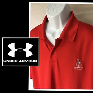 Under Armour Men's Red Short Sleeve TPC Golf Polo Shirt Extra Large XL $17.95
