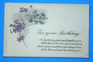 VINTAGE 1917 quot;FOR YOUR BIRTHDAYquot; POSTCARD EMBOSSED BIRTHDAY SERIES NO 171 $0.99